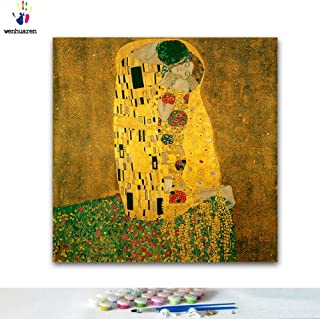 Paint by Number Kits 16 x 20 inch Canvas DIY Oil Painting for Kids, Students, Adults Beginner with Brushes and Acrylic Pigment -Gustav Klimt Kiss Famous Painting(Without Frame)