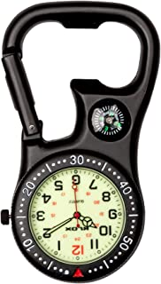 Black Clip-On Carabiner FOB Watch with Compass for Doctors Nurses Paramedics Chefs Extra Battery
