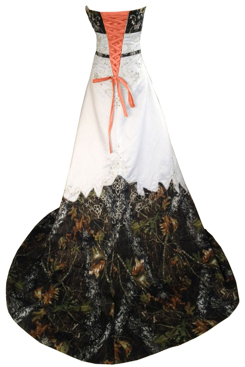 Zvocy Women S Plus Size Camo Wedding Dresses Long Prom Dresses Embroidery Camouflage Bridal Gown White Orange 8 Buy Online In Belarus At Desertcart Productid 197601005