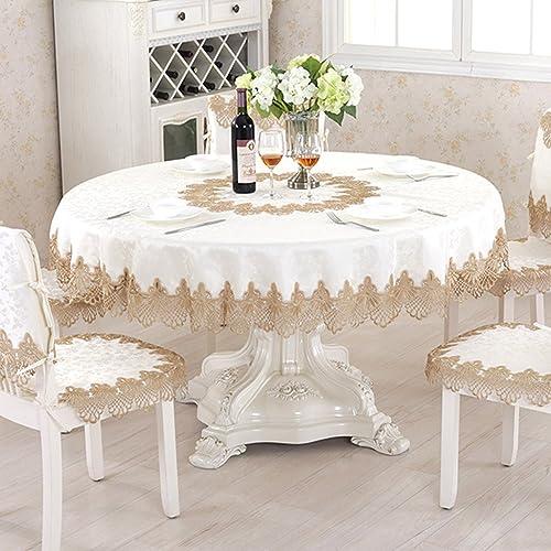 Qiao jin Tischdecke Spitze Tischdecken Runde Tischdecke Tee Tischdecke Tischtuch (Round-90cm) (Größe   Round-200cm)