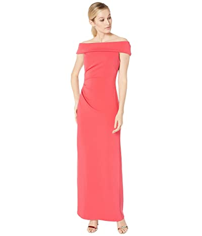 Vince Camuto Off the Shoulder Gown w/ Side Tucks (Berry) Women