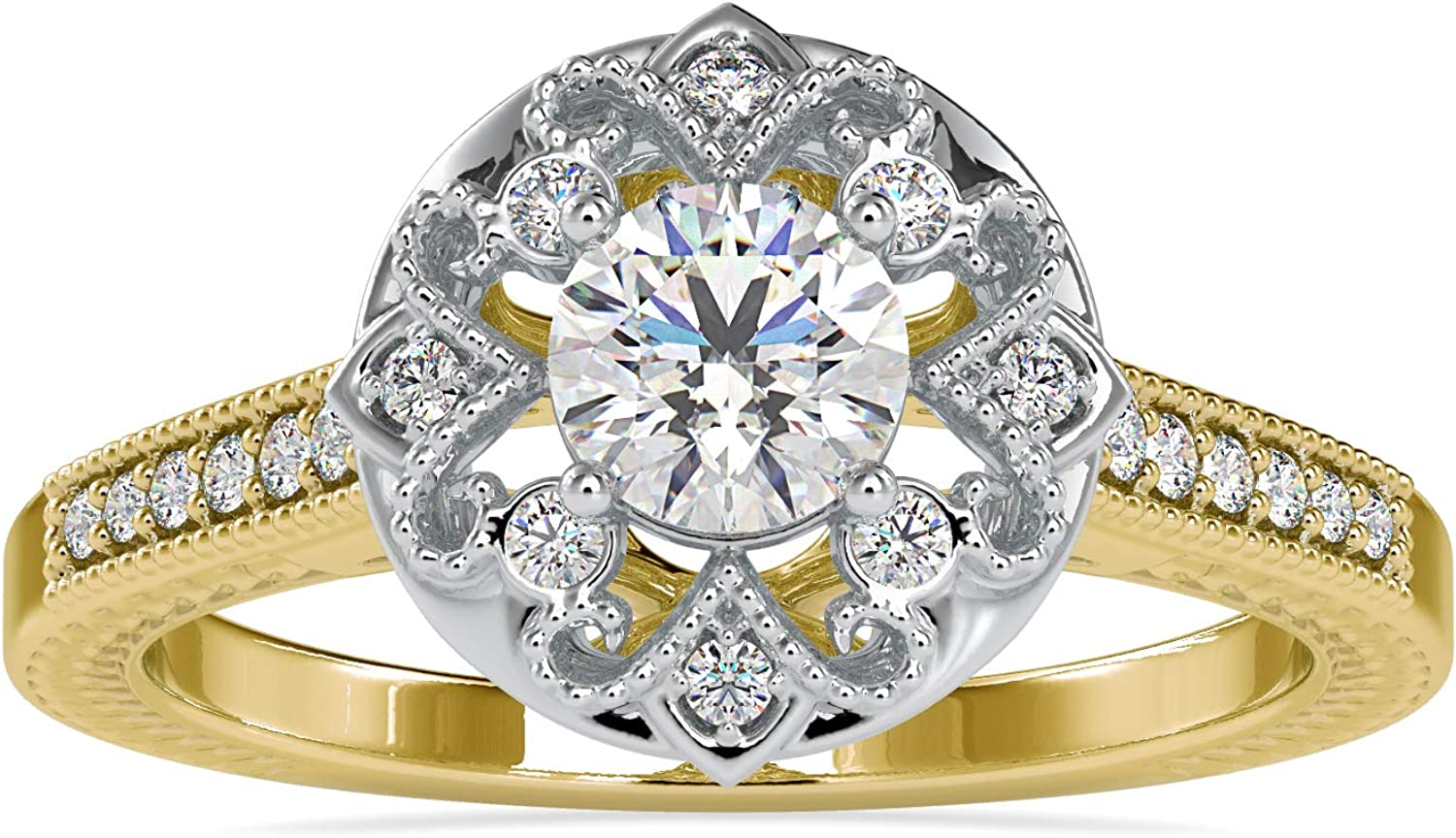 Certified Petite Twisted Vine Halo Time sale with 0.37 security Engagement Ct Ring