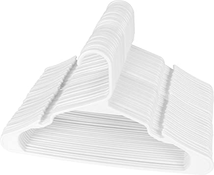Utopia Home White Plastic Standard Hangers for Clothes 50-Pack Space Saving Notched Hangers