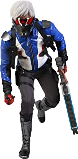 Overwatch Soldier 76 Cosplay Costume, Officially Licensed, Embroidered PU Leather Halloween Game Anime Battle Suit for Men