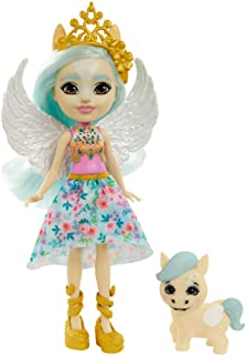 Enchantimals GYJ03, Pegasus (15 cm) en Wingley, Haar Dierenvriendje Uit de Royals Collectie, Kleine Pop met Rok en Accesso...
