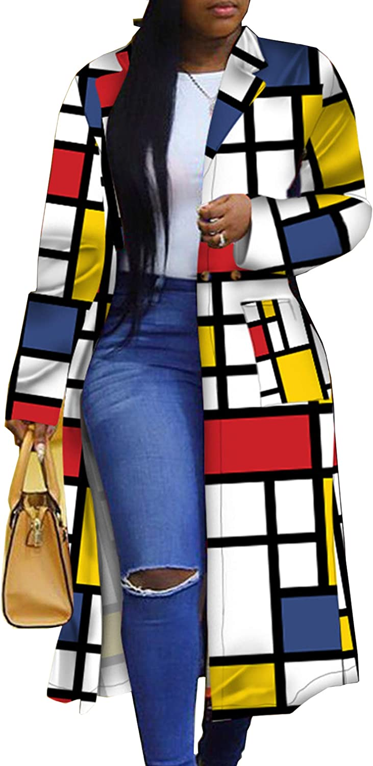 Women's Colored Geo Turn Down Colorful Trench Coat Outerw Collar Direct sale of manufacturer security