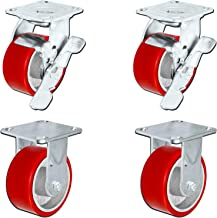 5 in. x 2 in. Heavy Duty Caster Set with Red Polyurethane on Steel Wheels, 1,100 pounds Capacity per Caster, 5