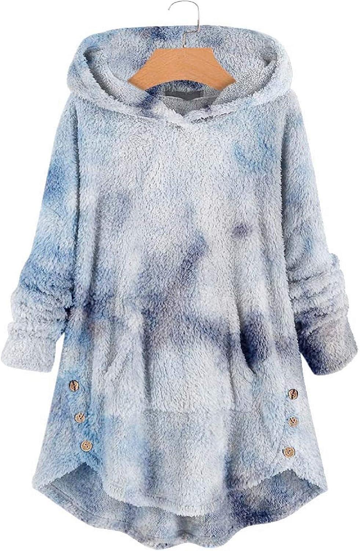 Tsmile Winter Women Casual Fleece Asymmetrical Tie-Dyed Print Button Hem Hoodie Top Blouse