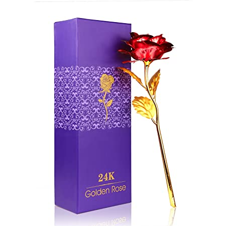 ACELEY Flor Rosa de Oro de 24 Quilates, lámina de Oro Artificial para Siempre, Esposa/Mujer y Novia, Navidad, día de San Valentín, día de la Madre, ...