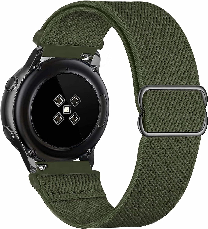 GBPOOT 20mm Correa Compatible con Samsung Galaxy Watch Active 2(40mm/44mm)/Watch 3 41mm/Watch 42mm/Gear S2,Reloj Ajustable de Repuesto Deporte Strap,Pulsera Nylon Banda,Pure Army Green,20mm