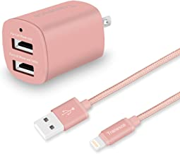 Tranesca Dual USB Wall Charger and 6ft Charging Cable (Rose Gold)