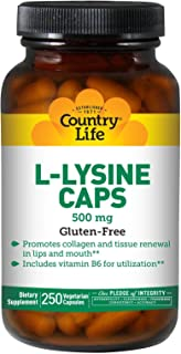 Country Life L-lysine 500 mg with Vitamin B6-250 Vegetarian Capsules - Promotes Collagen and Tissue Renewal - Aids Utiliza...