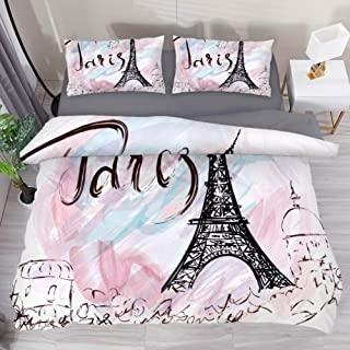 LvShen Painted Eiffel Tower in Paris Bed Coverlet Duvet Cover Set with 2 Pillow Cases Shams Bedding Sets Extra Long Twin Size 3 Pieces Printed Sheets for Teen Boys Girls
