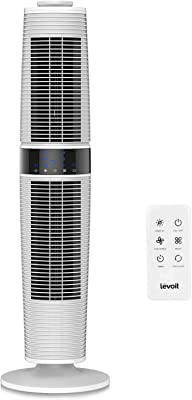 LEVOIT LV373 Tower Fan Oscillating with Remote Control, Standing Floor with 3 Speeds and Modes, 360° Manual Oscillation for Cooling, Automatic Shutoff Timer, Quiet and Energy Saving, 37 Inch, White