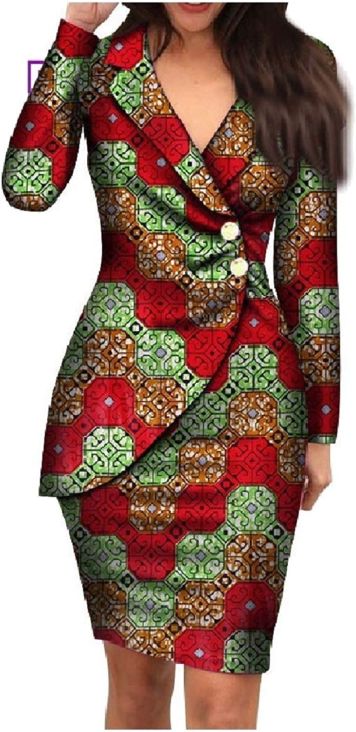 Baseby Womens Fit African Style Bodycon Back Cotton Blazer Work Office Dresses