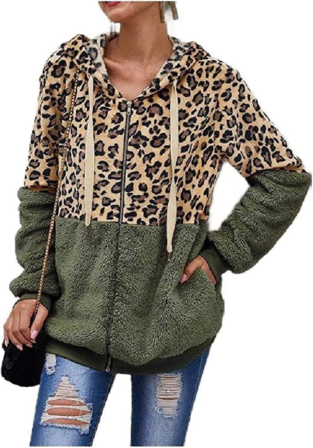 Womens Hooded Zip up Leopard Print A surprise price is Popular products realized Outwear Fluffy C Loose Jacket