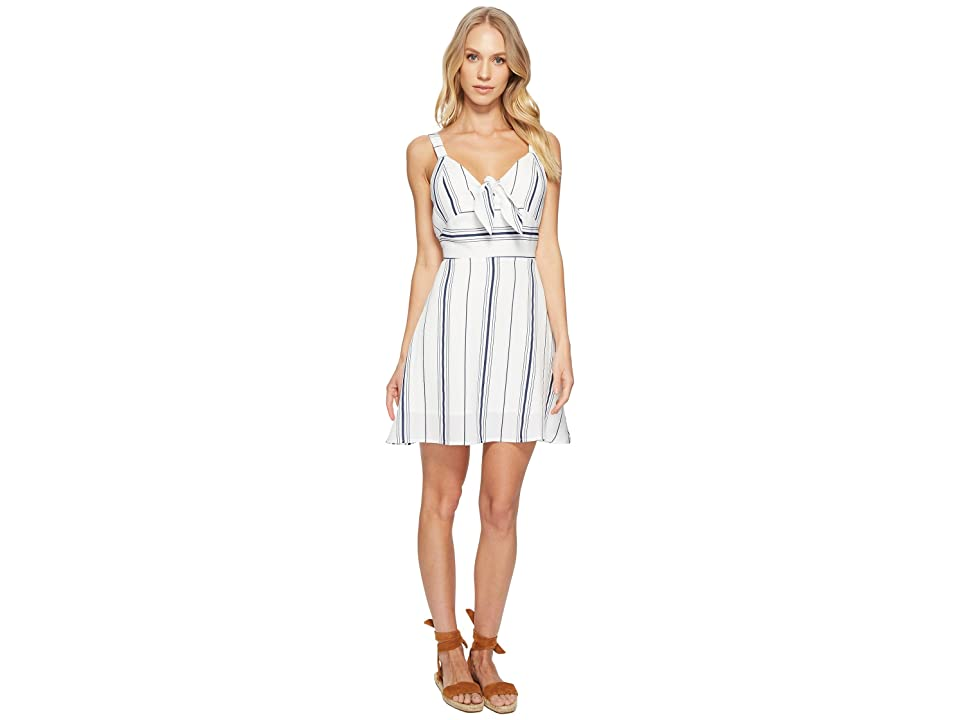 J.O.A. Tie Front Fit Flare Dress (White/Navy) Women