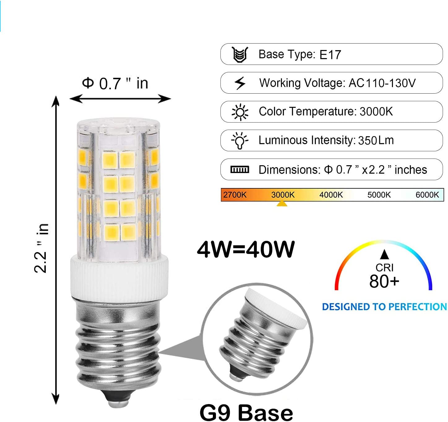 Not Dimmable Daylight White 6000K E17 Daylight White Bulbs for Home Lighting G9 Base 400LM NLEHB E17 LED Bulb 4W Pack of 2 40W Halogen Equivalent