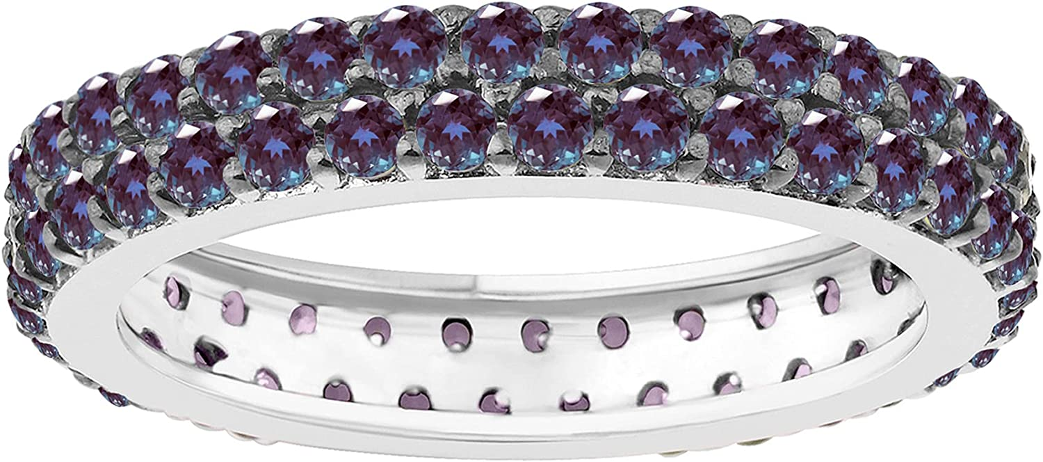mart Sterling Silver with Color Changing Large-scale sale Two Alexandrite Eternity Row