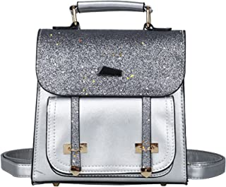 Women Small Fashion Backpack, Retro Mini Daypack Casual Satchel Purse Contrast Color Design