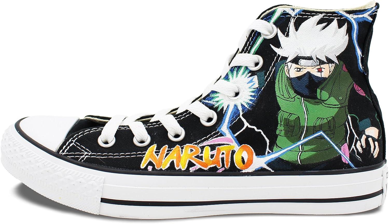 Converse Shoes Naruto Kakashi Black Canvas Shoes Hand Painted ...