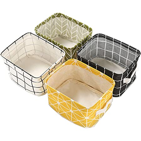 Boîte de Rangement Pliable Lin Tissu Bureau Rangé Stockage, Lot de 4 paniers de Rangement carrés Pliables pour étagères et Jouets