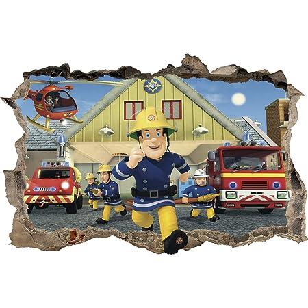 Wall Graphics Autocollant Mural Trou dans Le Mur Sam Le Pompier muraux Sticker 47 (XL - 100 x 65 cm)