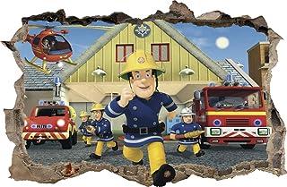 Muurstickers gat in de muur brandweerman SAM sticker naar de kamer 47 (XXL - 115 x 75 cm)