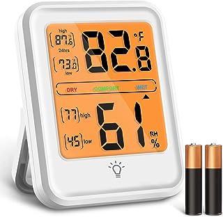 Termómetro Higrómetro Digital, Medidor Temperatura y Humedad con Pantalla de Retroiluminación LED, Interruptor ° C / ° F e...