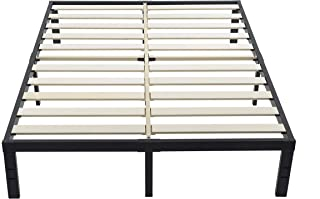 ZIYOO 3500lbs Heavy Duty, 14 Inch Wooden Slat, Reinforced Platform Bed Frame Strengthen Support Mattress Foundation, Easy Assembly, Quiet Noise Free, No Box Spring Needed, Integrated Structure, Queen
