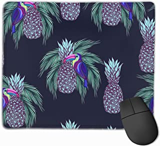 Gaming Mouse Pad Custom Design,Oucans and Pineapples On Dark Background Funny Mouse Pads,Non-Slip Rubber Base Small Mousepad