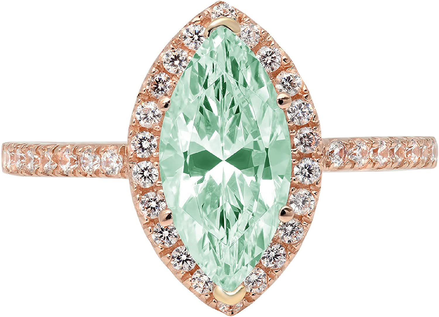 2.32ct Brilliant Marquise Cut Solitaire with Accent Halo Turquoise Green Ideal VVS1 Simulated Diamond CZ Engagement Promise Statement Anniversary Bridal Wedding Ring 14k Rose Gold