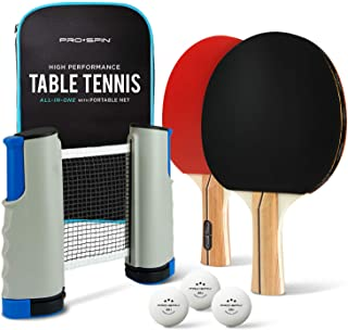 PRO SPIN Play Anywhere Portable Ping Pong Set – with Ping Pong Net for Any Table, Premium Ping Pong Paddles, 3-Star Balls,...