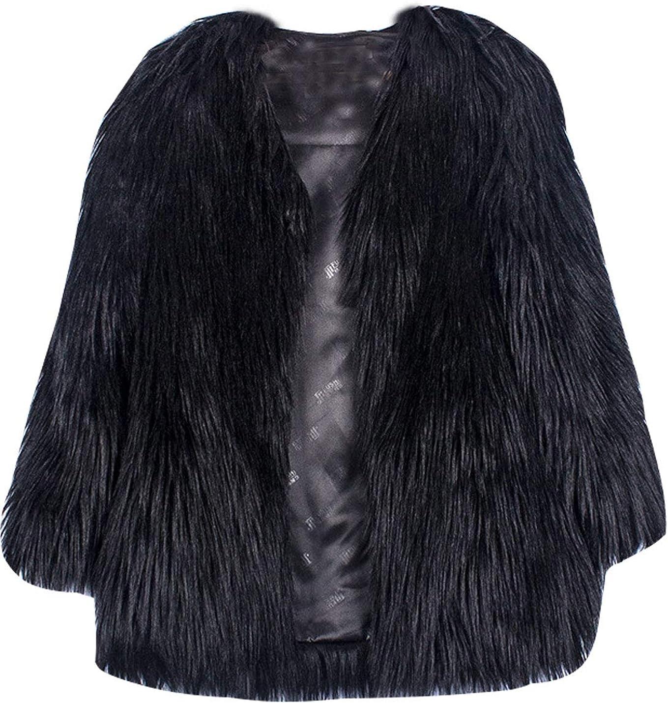 Omoone Women's Long Sleeve Luxury Fluffy Faux Fur Open Front Cardigan Parka Coat