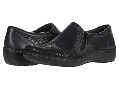 Clarks Cora Giny (Black Textile/Leather Combination) Women
