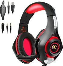 redhoney Gaming Headset with Mic for PS4, PC, Xbox One, Over Ear Game Headphones, Surround Sound, Noise Reduction, Easy Volume Control,3.5MM Jack and LED Lighting