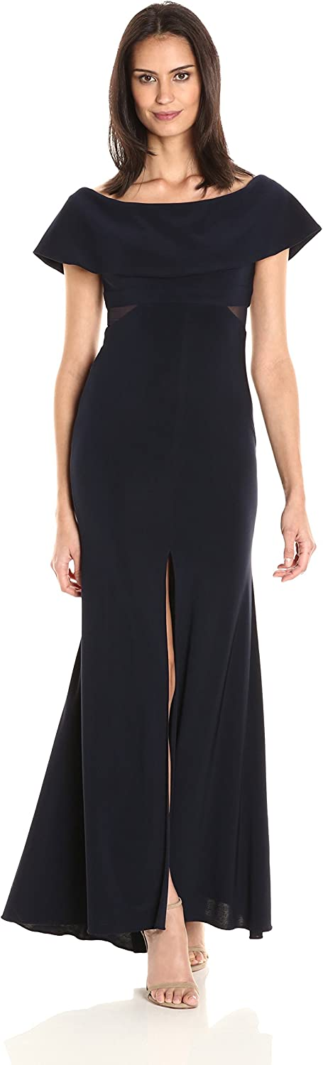 Xscape Womens Long Ity Off The Shoulder Dress with Illusion Insets Dress