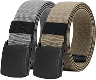 WHIPPY 2 Pack Elastic Stretch Belt for Men, Nickle Free Hiking Nylon Belt in YKK Buckle (Gray Khaki, Fit Pants Below 35 In...