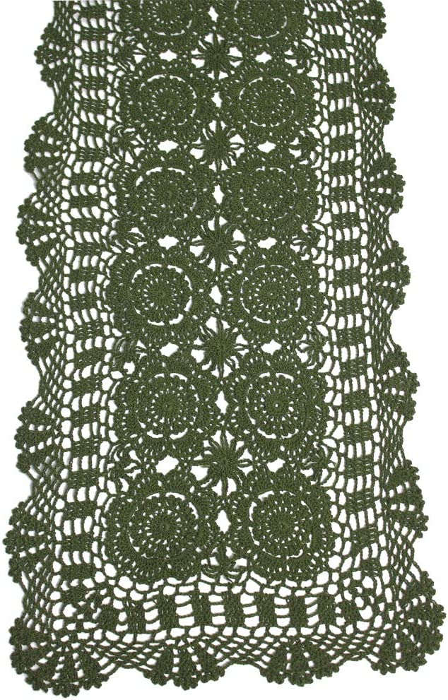 KEPSWET Cotton Handmade Crochet Shipping included Lace Re Green Runner Olive Shipping included Table