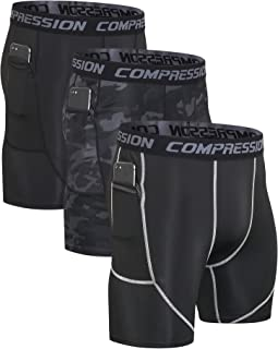 Milin Naco Men's Compression Shorts with Pocket, Cool Dry Baselayer Sports Tights, Pack of 3