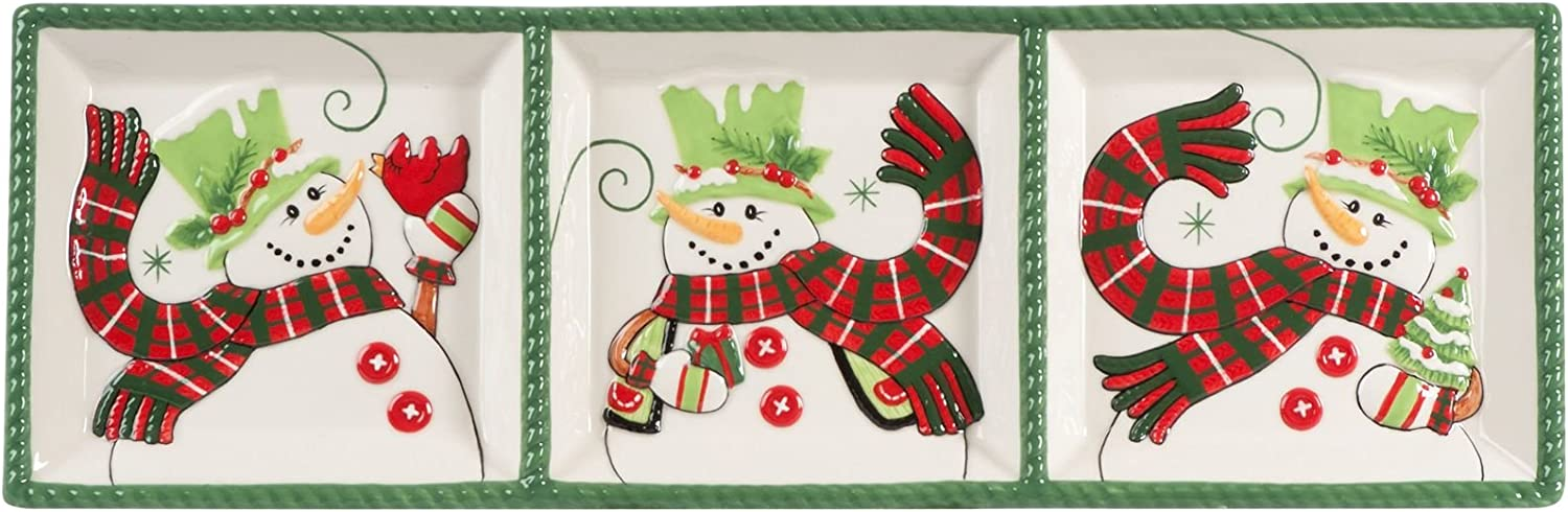 Holly Hat Snowman We OFFer at Max 44% OFF cheap prices Collection Set 3-Sectioned Server