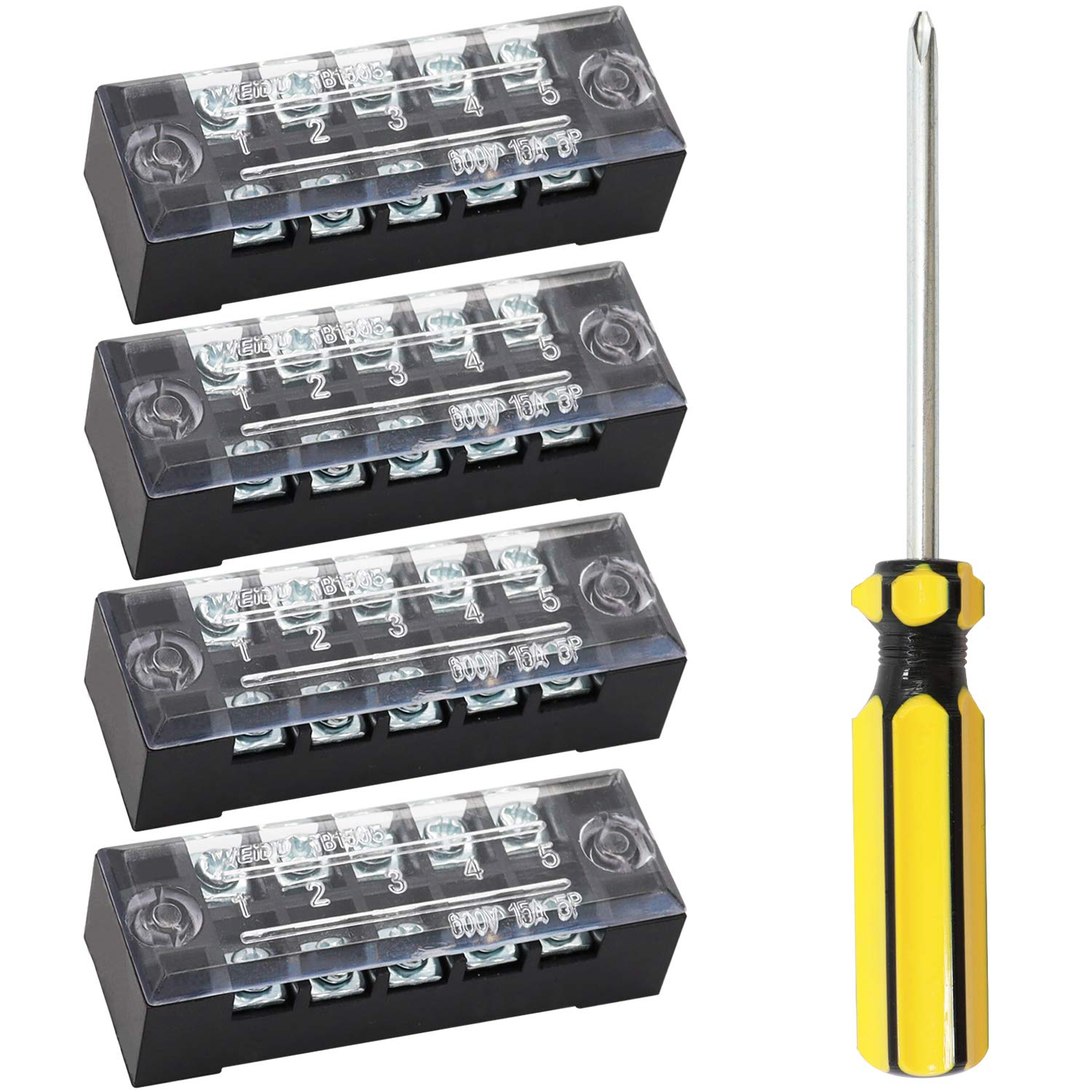 mxuteuk 4 Pcs 5 Positions Max 42% OFF Dual Max 60% OFF Covered Screw Rows Barrier Block