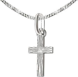 CLEVER SCHMUCK Juego de colgante de plata pequeña cruz pequeña de 12 mm diamantada brillante cerrada con cadena barbada de...
