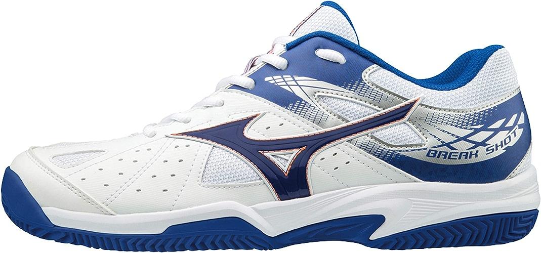 Mizuno Break Shot 2 CC, Chaussures de Tennis Homme, Blanc (blanc Reflex bleu Nasturtium 27), 43 EU