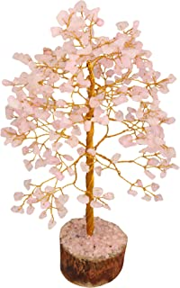Crocon Gemstone Money Tree Feng Shui Bonsai for Energy Generator Reiki Healing Chakra Stone Balancing EMF Protection Spiritual Home Office Interior Decor (Rose Quartz (Golden Wire))