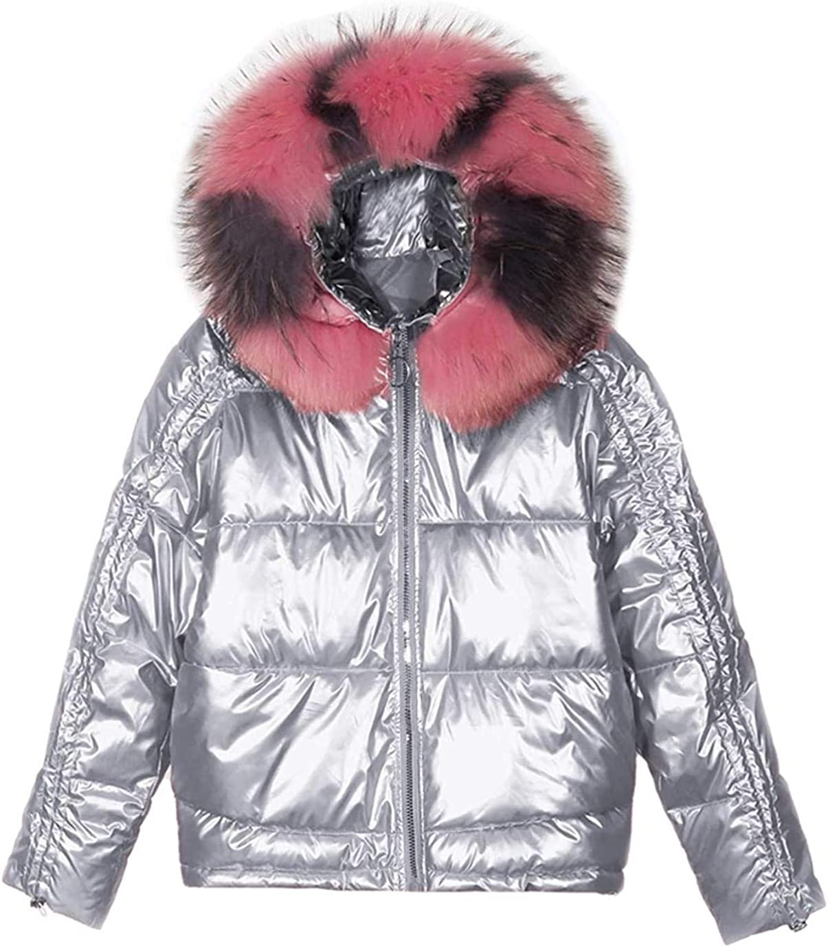Women's Winter Faux Fur Hooded Relaxed Fit Shiny Metallic Padded Short Parka Jacket