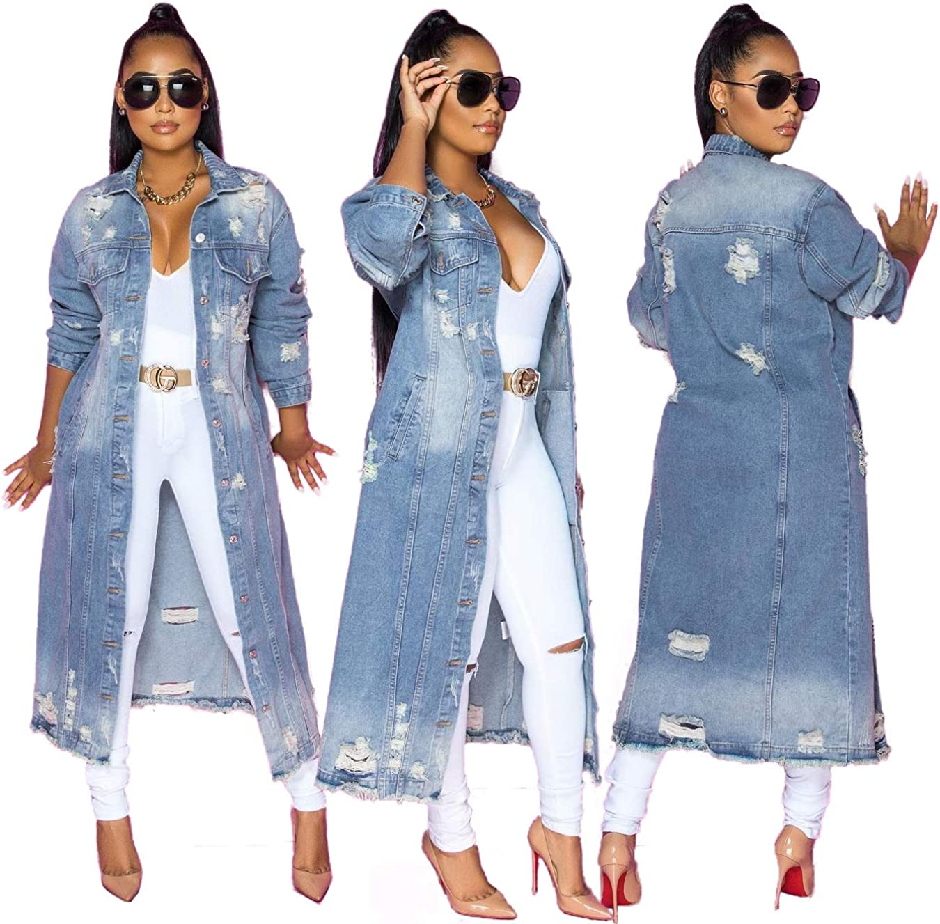 Alilyol Maxi Long Denim Jacket Trench Coat for Women,2021 New Distressed Hole Over Knee Midi Long Denim Jacket Trench Coat