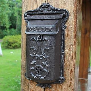 郵便受け・メールボックス ヴィンテージメールボックスウォールマウント、ブラック- さまざまな種類のメール用の頑丈な鋳鉄製ミニレターボックス、 家の壁、木、外用