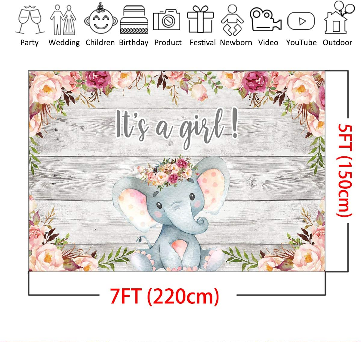 7x5ft Its a Girl Photography Background Mocsicka Elephant Backdrop,Floral Girl Elephant Rustic Baby Shower Photo Booth Backdrop