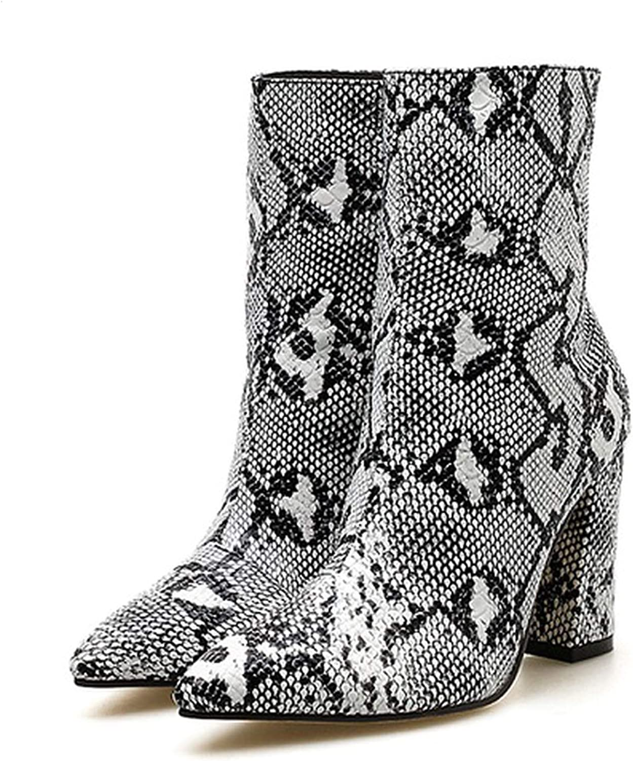 IOJHOIJOIJOIJMO Women Zipper Boots Snake Print Ankle Boots Square Heel Fashion Pointed Toe Ladies Sexy shoes 2019